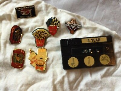 8 vintage McDonald's crew pins, all different and all in excellent condition+tag