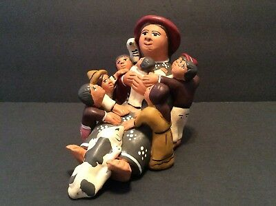 PERUVIAN CLAY SCULPTOR MOTHER and CHILDREN FAMILY CIRCLE