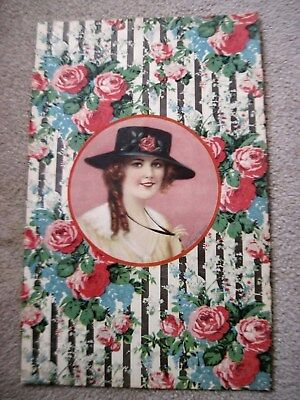 Fabulous Victorian Paper Covering for Box~Girl in Hat/Roses~Frederick S Manning