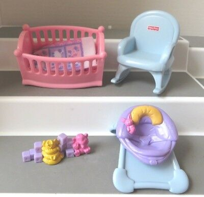 fisher price my first dollhouse furniture people doll mom dad baby