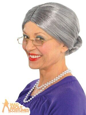 Grey Granny Wig Old Lady Grandma Nanna Womens Ladies Fancy Dress