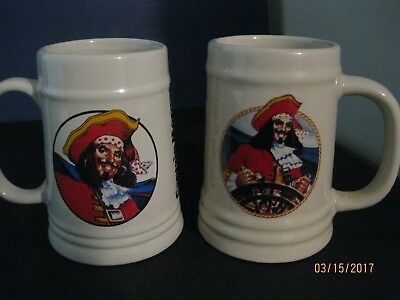 2 Different CAPTAIN MORGAN Spiced Rum Ceramic Pirate Beer Stein Mugs