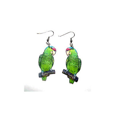 Lilac Crowned Amazon Parrot Earrings Handcrafted Plastic Made in USA