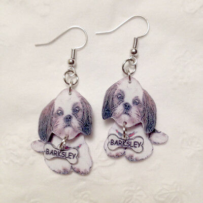 Shih-Tzu Dog 3D Dog Earrings with your dogs name on bone Handcrafted Plastic