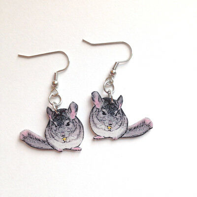 Chin Chinchilla Dangle Earrings Handcrafted Plastic Made in USA