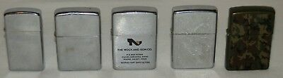 Lot of 5 Vintage Zippo Lighters Includes One 1950,s Slim