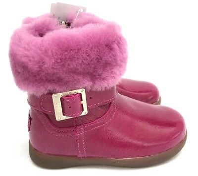 Ugg Gemma Patent Leather & Sheepskin Lined w/natural Wool Toddler Girl Boots 7.5