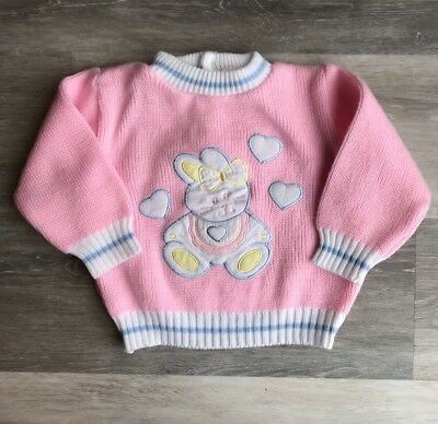 VINTAGE pastel Easter Bunny Sweater Girls Size 24 Month