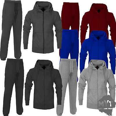 Boys Girls Kids Plain Tracksuit Hooded Hoodie Bottom Jogging Joggers 2-13 Years