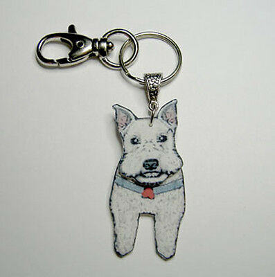 3D Schnauzer Keyring Handcrafted Plastic Made in USA