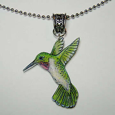 Ruby Throated Hummingbird Pendant Necklace Handcrafted Plastic Made in USA