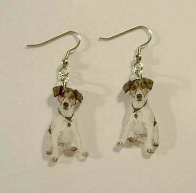Jack Russell Terrier Earrings Handcrafted Plastic Made in USA