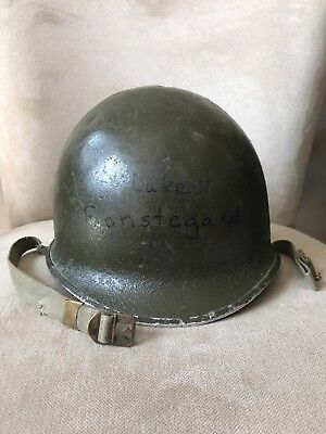 WWII Fixed Bale M1 Helmet w/ early chinstraps and name