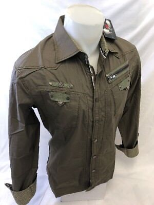 Mens HOUSE of LORDS OLIVE GREEN SNAP UP Shirt TWO POCKET LONG SLEEVE HL1144 NWT