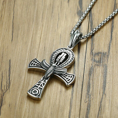 Vintage Men Totem Scarab Egypt Ankh Cross Pendant Necklace Chain Gothic Jewelry