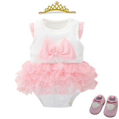 Baby Girl Newborn Bodysuit wedding party birthday dress Tutu baby shower gift