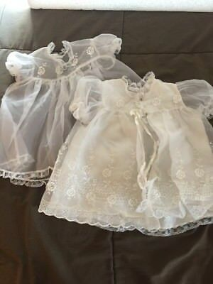 Vintage Sheer White Baby Baptismal Outfit2-piece