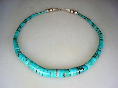 Gorgeous OLD SANTO DOMINGO PUEBLO ROLLED TURQUOISE HEISHI BEAD NECKLACE