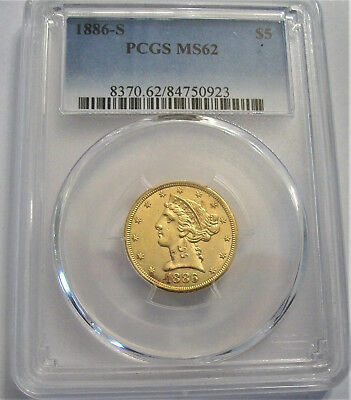 Lot of One, PCGS-Certified, MS62,1886-S, Five-Dollar Half Eagle Gold Coin