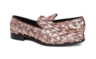 Stacy Adams Swank Rose Gold Geometric Sequins Loafer Prom Dress Shoes