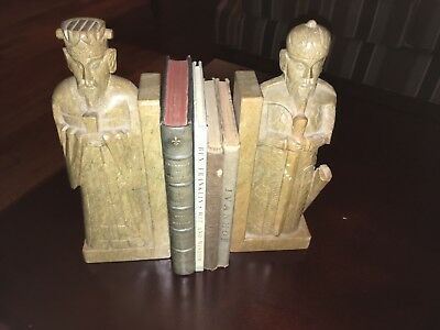 Pair Vintage Chinese Hand Carved Soap Stone, Marble Bookends