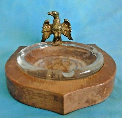 Vintage Glass Ashtray on Wooden Base with Brass Eagle