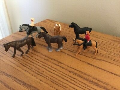Safari Ltd. Lot Of 6 All Different Minature Horses And Minature Cowgirl/Cowboy