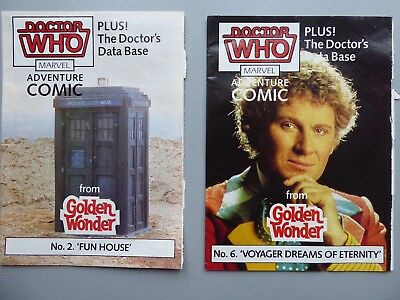 Doctor Who mini Marvel   comics no2 and no6 free with Golden Wonder 1980s
