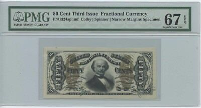 Third Issue 50 Cent Fractional Currency Fr#1324spnmf  Colby/Spinner Narrow ma...