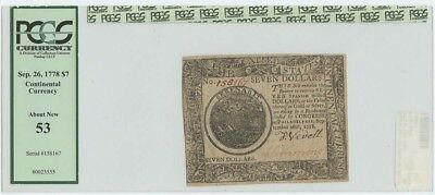 1778 Continental Currency $7 Sep. 26 FR#CC-80 PCGS AU53 About New