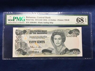 *Finest Known* P 42a Bahamas 1974 (ND 1984) 1/2 Dollar Central Bank PMG 68 EPQ