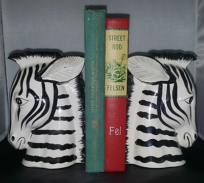 Fitz & Floyd Handpainted Zebra Book Ends