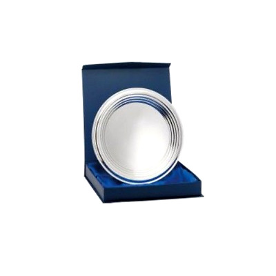 Nickel Plated Rings Silver Tray Salver Award with Box - FREE Stand & Engraving