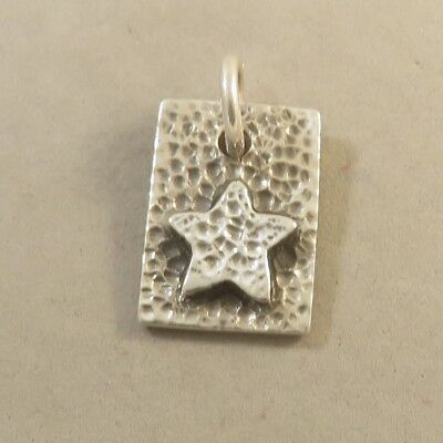 .925 Sterling Silver STAR ON RECTANGLE Textured Pendant NEW 925 PW100