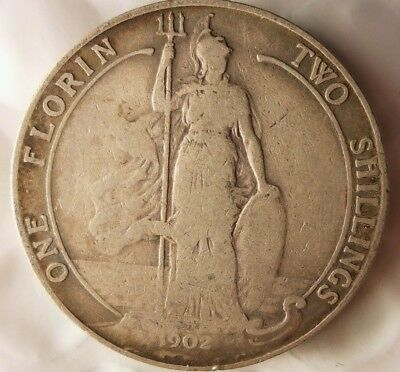 1902 GREAT BRITAIN FLORIN - Excellent RARE TYPE Silver Coin - Lot #M16