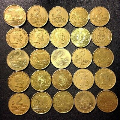 Old Uruguay Coin Lot - 25 Excellent Uncommon 2 PESO Coins - Lot #M16