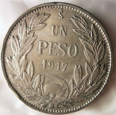 1917 CHILE PESO - Excellent Very Scarce Silver Coin - Hard to Find - Lot #M16