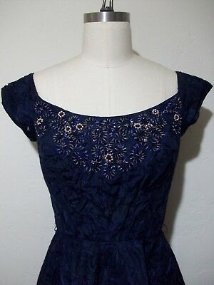 Vintage 1950s Midnight Blue Beaded Embroidered Dress Pinup Prom Cocktail Small