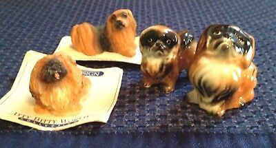 Lot Of 4 Pekingese Dog Miniatures, Bone China, Itty Bitty World, Russ Berrie