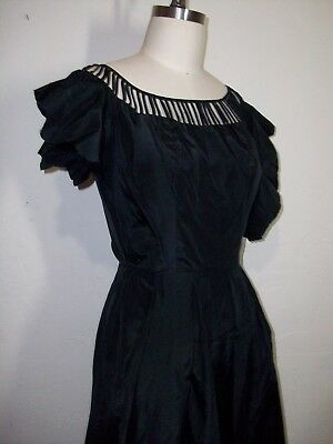 Vintage 1950s Collectible Emma Domb Project Dress Black Pinup Designer Taffeta