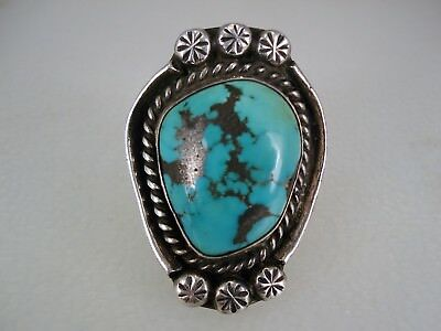 BEAUTIFUL OLD NAVAJO STERLING SILVER & TURQUOISE RING w/ STAMPED DROPS sz 9.5