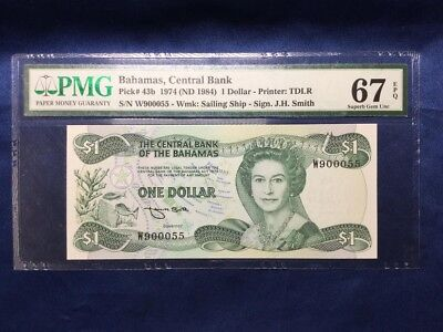 Rare Finest Known P 43b Bahamas 1974 (ND 1984) 1 Dollar Central Bank PMG 67 EPQ