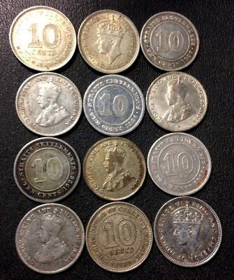 Old Malaya/Straits Settlements Coin Lot - 12 SILVER COINS - 1918-1941 - Lot #M16