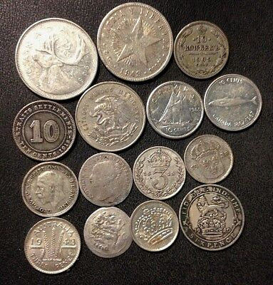 Vintage WORLD Silver Coin Lot - 1838-1968- 15 GREAT COINS - Lot #M16