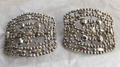Antique French Cut Steel Shoe Buckles Accents #4688A