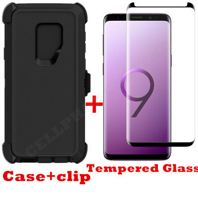 Samsung Galaxy S9 Plus Case Clip fits Otterbox Defender w/Tempered Glass BLACK