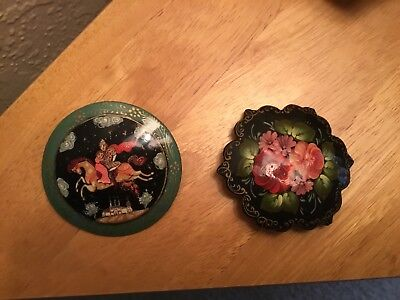 2 Russian Lacquer Pins Palech (Palekh) style
