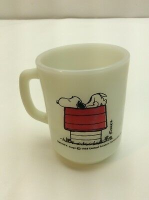Snoopy Fire King Mug I Think Im Allergic To Mornings Milk Glass D Handle 1958