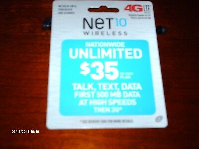 Net10 Refill Card /$35 Unlimited Talk, Text, Data New Never Used