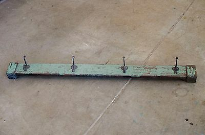 Vintage Reclaimed Green chippy wood Hallway Coat Rack - Wall Mounted